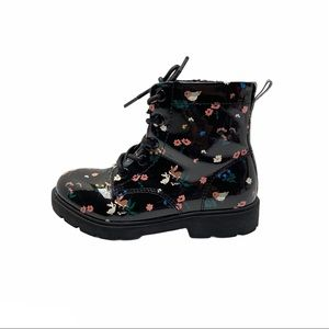 H&M Girl's Black Floral Patent Boots Size 11.5